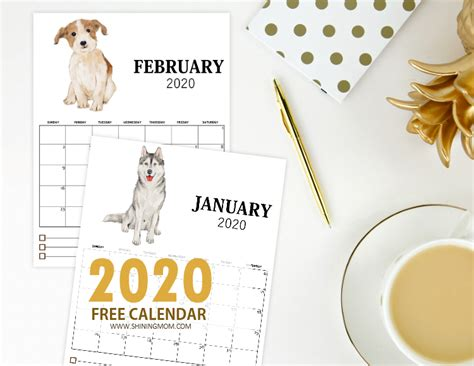 2019 Calendar 2020 Printable Free Monthly