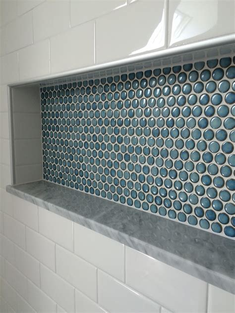 penny tile shower nice custom shower detail inset niche
