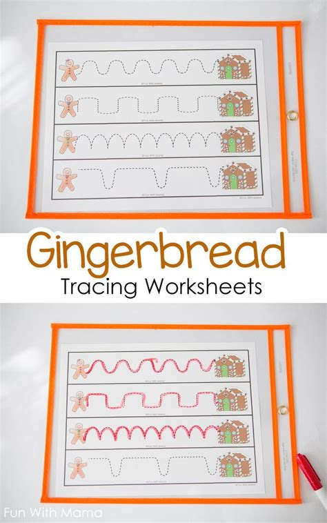 gingerbread tracing worksheets toddler preschool