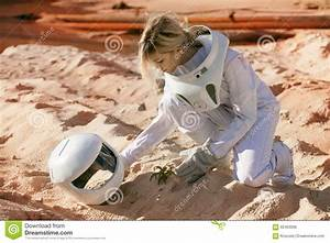 Grow Plants On Mars, Futuristic Astronaut Without Stock ...