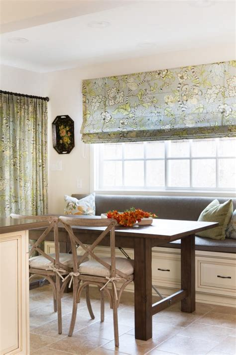 cottage kitchen  banquette window seating roman