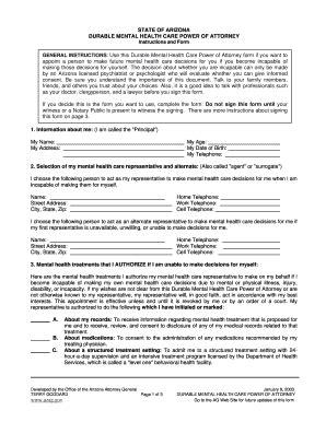 health care power of attorney form arizona state of arizona fillable durable healthcare power of