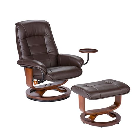 bonded leather birch u base swivel glider reclining chair