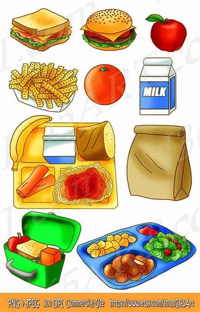 Lunch Clipart Tray Bag Snack Sandwich Brown