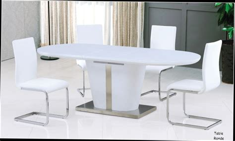 table ronde laquee blanche avec rallonge table a manger ultra design