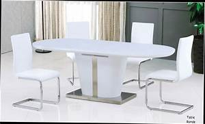 table a manger blanche avec rallonge chaioscom With table salle a manger design