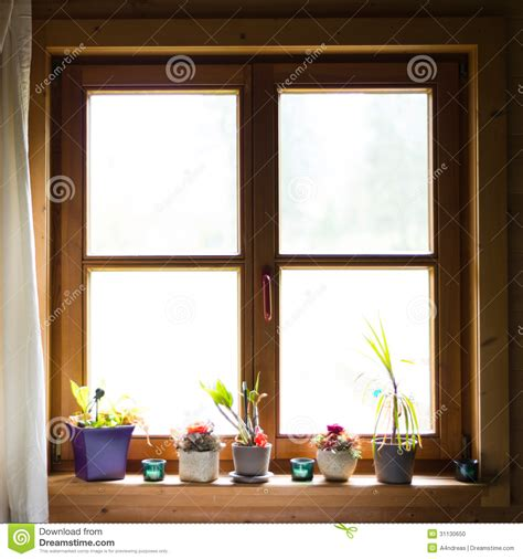 Wooden Window Ledge by Wooden Window With Flowers Stock Photo Image 31130650