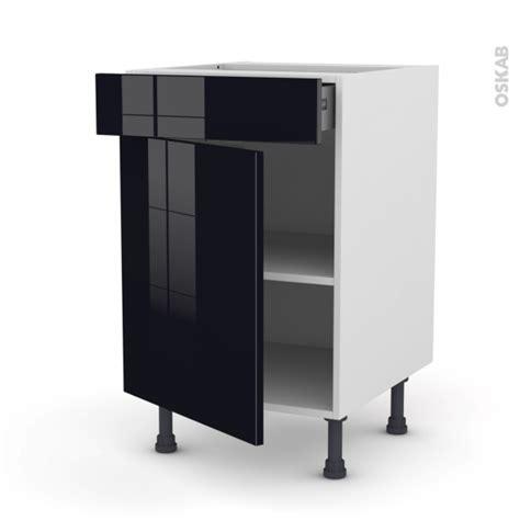 meuble cuisine noir meuble de cuisine bas keria noir 1 porte 1 tiroir l50 x