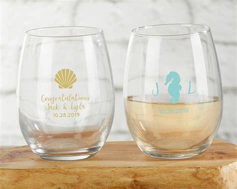Personalized Stemless Wine Glass Beach Wedding Favors