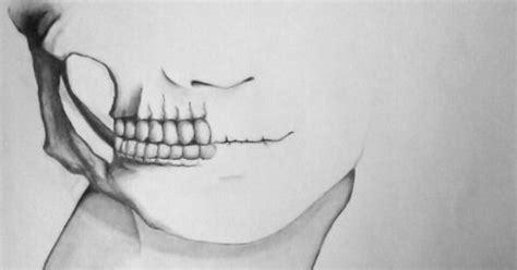 Half Skull Face Black White Pinterest