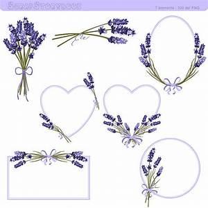 Lavender Flower Frame and Clipart - 300 dpi PNG printable ...