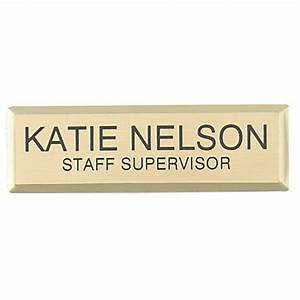 Engraved metal name badge 34 x 2 34 gold by office depot for Custom name badges office depot