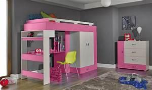 Lit Mezzanine Pour Enfant : lit sur lev enfant rose avec bureau et rangements vera ~ Teatrodelosmanantiales.com Idées de Décoration