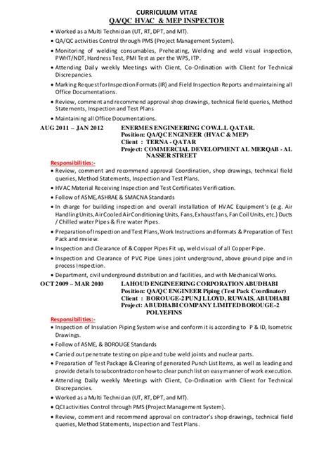 Ndt Rt Technician Resume by Qaqc Mep Hvac Inspector