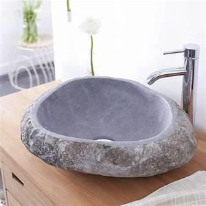 vasque en pierre de riviere vasques forme galet nobu sur With salle de bain design avec vasque en galet de riviere