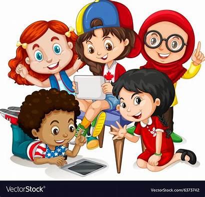 Working Children Clipart Vector Happy Illustration Royalty