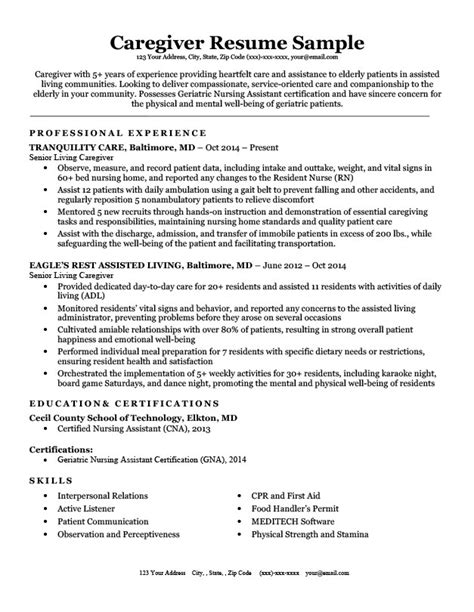 Resume For Caregiver by Caregiver Resume Sle Writing Tips Resume Companion