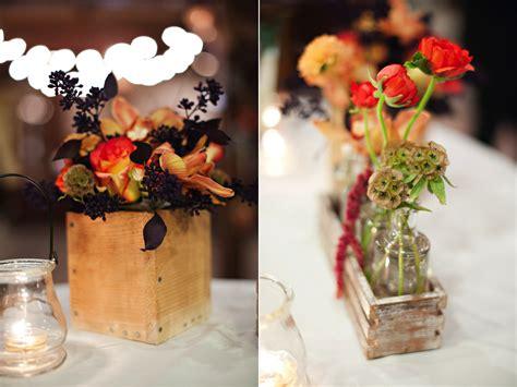 rustic fall wooden box wedding centerpiece vintage bottle