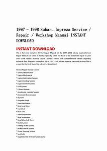 1997 1998 Subaru Impreza Service Repair Workshop Manual Instant Download By Jshfjsnnef