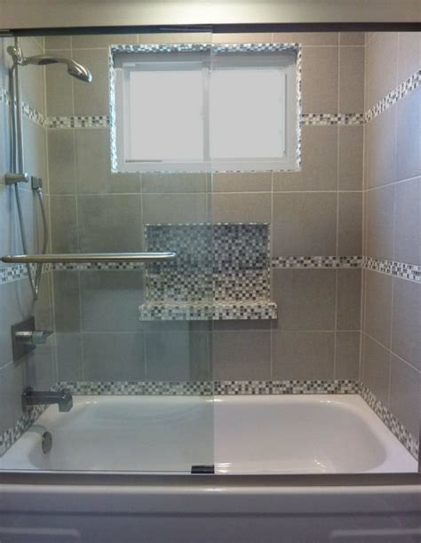 bathroom tub tiles tub shower tile surround with glass mosaic niche