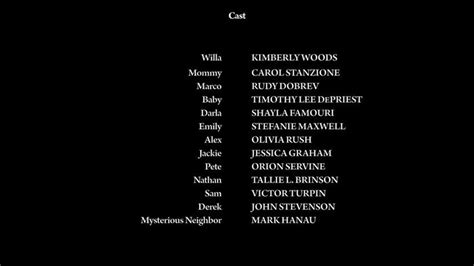 End Credits. Credit Roll. Cast Credits