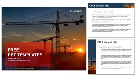 construction crane  sunset powerpoint templates