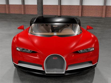 bugatti chiron rendering front  red version  car
