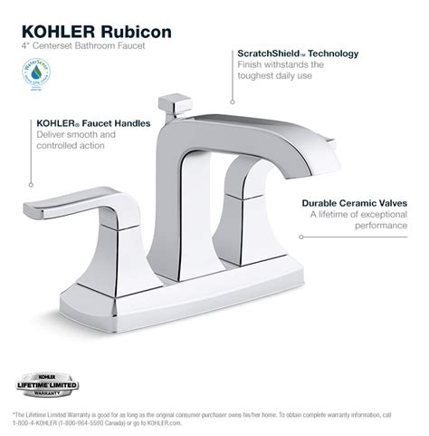 kohler rubicon 4 in centerset 2 handle bathroom faucet in polished chrome k r76215 4d cp the