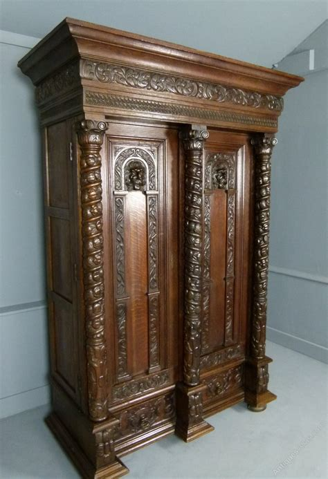 Armoire Cupboard by Elaborately Carved Flemish Oak Armoire Cupboard Antiques