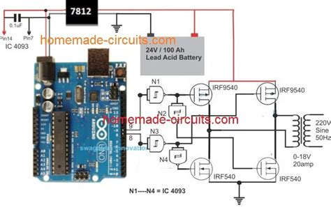 a simple yet useful microprocessor based arduino bridge inverter circuit can be built by