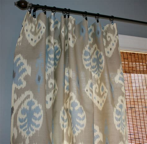grey blue and creme ikat curtain panels custom by