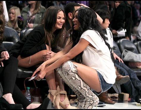 nba star celebrities chrissy game teigen performances jay wayne lil rihanna beyonce ciara diddy courtside spotted thejasminebrand zimbio