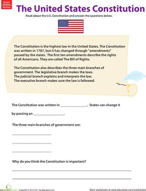 learn about the u s constitution worksheet education com