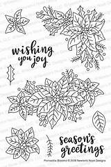Newton Nook Coloring Poinsettia Stamps Clear Blooms Simonsaysstamp sketch template