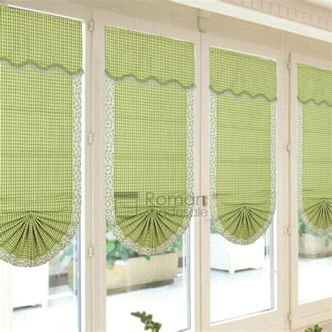 fan shaped window shades pastoral fan shaped plaid custom size roman shades with