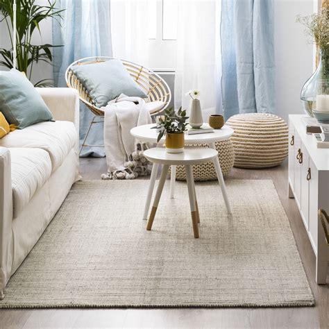 alfombra de lana gris  blanca oja kenay home
