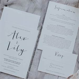 printed simple and modern calligraphy wedding invitation set With modern calligraphy wedding invitations uk