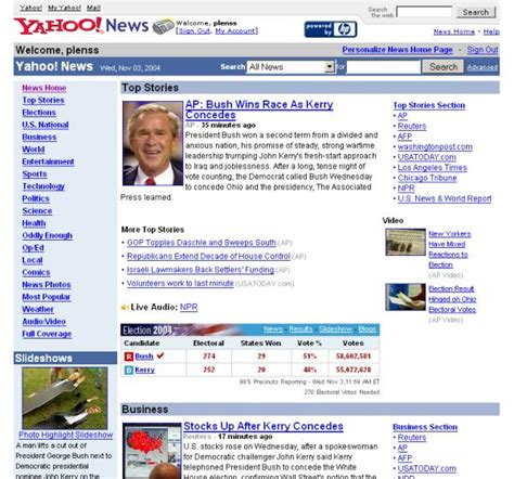 Bush Election Frontpages Yahoo Germany Predicts The
