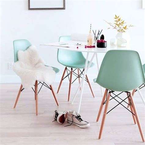 eames style dining chairs in soft pastel colours fresh