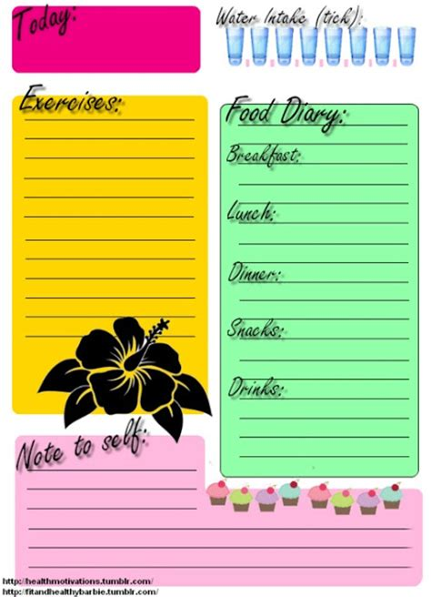 food and exercise journal template was partially right clean is printable food journal