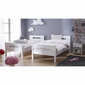 Pack lit 2 matelas 90x190 tom blanc tomablck06 for Suspension chambre enfant avec matelas 140x200 latex naturel