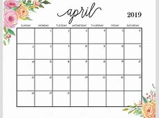 Get April 2019 Printable Calendar Template April 2019