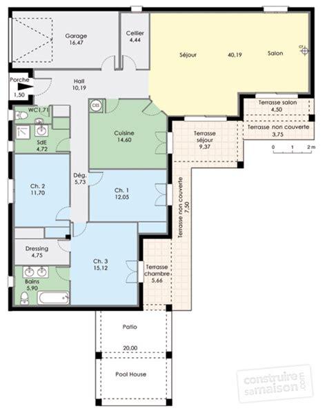 maison de plain pied avec trois chambres d 233 du plan de maison de plain pied avec trois