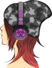 Anime Girl with Headphones Drawing