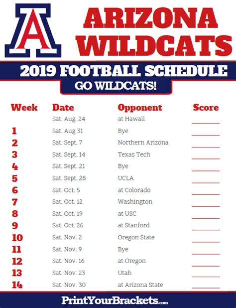 arizona wildcats  football schedule printable
