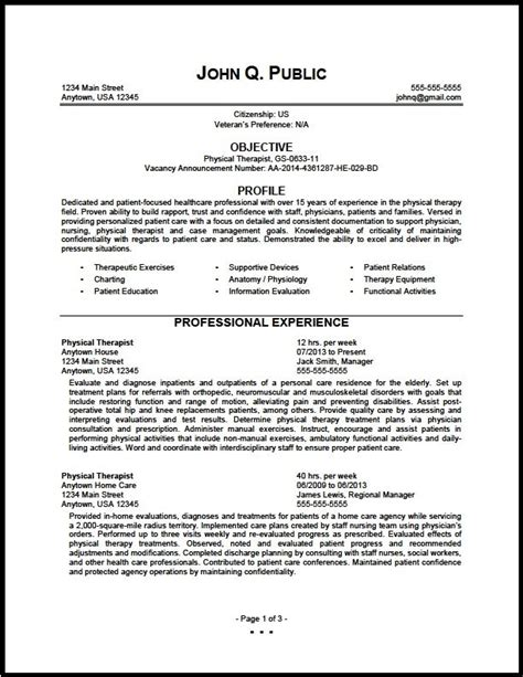 federal physical therapist resume sample  clinic