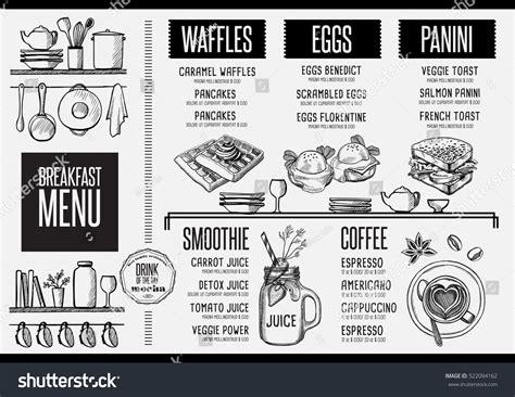 breakfast menu placemat food restaurant brochure stock