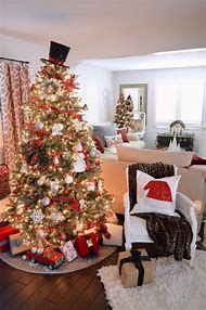 black and red plaid christmas tree decorations