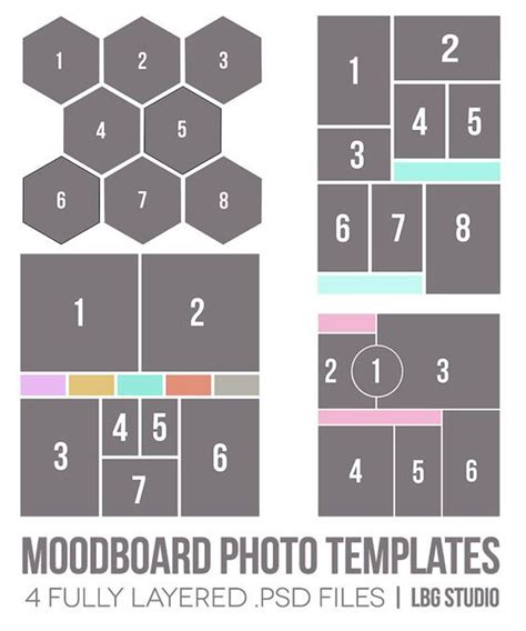 Moodboard Template Moodboard Photo Templates By Lbgstudio On Etsy 14 00