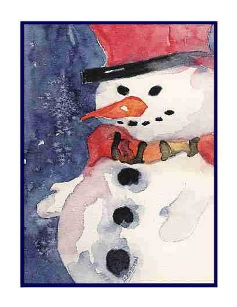 christmas watercolor snowman set   notecards note cards